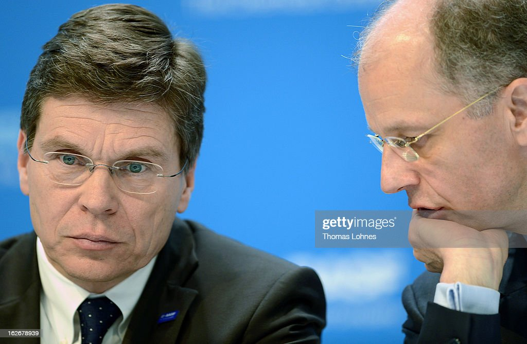 Kurt Bock (R), Chairman of the Board of Executive Directors at BASF SE, and Hans-Ulrich Engel (L), CEO of BASF SE are talking at the beginning of the company's earnings news conference on February 26, 2013 in Ludwigshafen, Germany. BASF SE, the world's largest chemical company, has projected increased sales this year.