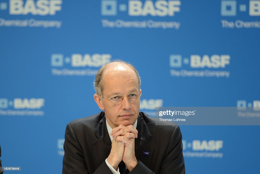 Kurt Bock Chairman of the Board of Executive Directors at BASF SE reacts during the company's earnings news conference on February 26 2013 in...