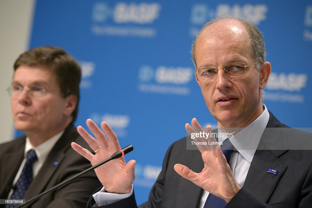 Kurt Bock (r), chief executive officer of BASF SE, and Hans-Ulrich Engel (l), chief financial officer of BASF SE speaks at the beginning of the company's earnings news conference on February 26, 2013 in Ludwigshafen, Germany. BASF SE, the world's largest chemical company, has projected increased sales this year.