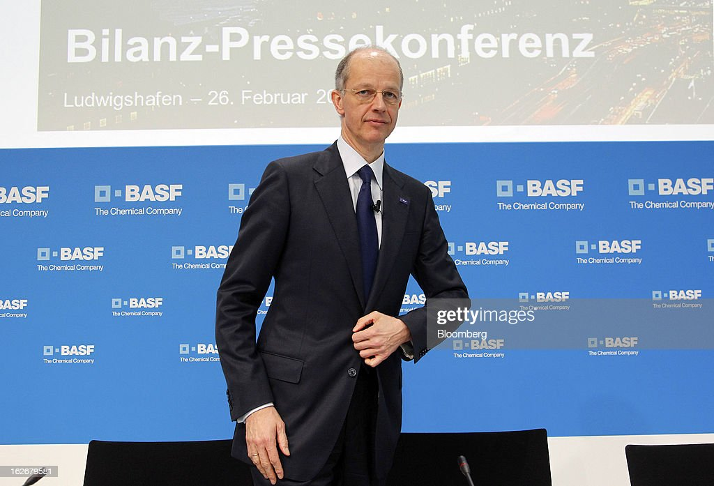 Kurt Bock, chief executive officer of BASF SE, arrives for a news conference to announce the company's results in Ludwigshafen, Germany, on Tuesday, Feb. 26, 2013. BASF SE forecast growth in earnings and sales this year after demand for plastics used to lighten cars and higher oil production buoyed quarterly earnings. Photographer: Ralph Orlowski/Bloomberg via Getty Images