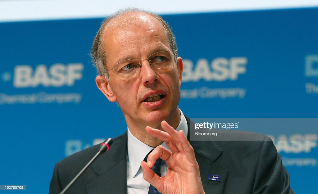 Kurt Bock, chief executive officer of BASF SE, gestures during a news conference to announce the company's results in Ludwigshafen, Germany, on Tuesday, Feb. 26, 2013. BASF SE forecast growth in earnings and sales this year after demand for plastics used to lighten cars and higher oil production buoyed quarterly earnings. Photographer: Ralph Orlowski/Bloomberg via Getty Images