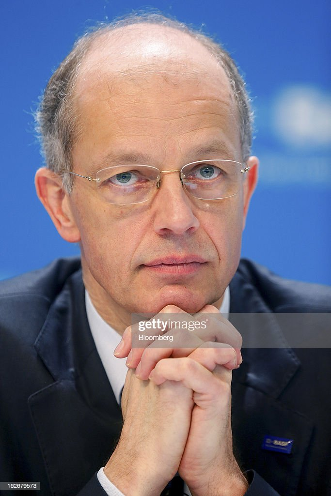 Kurt Bock, chief executive officer of BASF SE, pauses during a news conference to announce the company's results in Ludwigshafen, Germany, on Tuesday, Feb. 26, 2013. BASF SE forecast growth in earnings and sales this year after demand for plastics used to lighten cars and higher oil production buoyed quarterly earnings. Photographer: Ralph Orlowski/Bloomberg via Getty Images