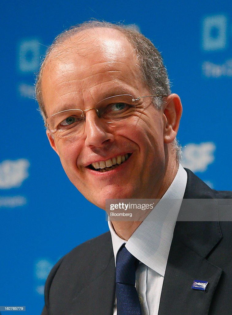 Kurt Bock, chief executive officer of BASF SE, reacts during a news conference to announce the company's results in Ludwigshafen, Germany, on Tuesday, Feb. 26, 2013. BASF SE forecast growth in earnings and sales this year after demand for plastics used to lighten cars and higher oil production buoyed quarterly earnings. Photographer: Ralph Orlowski/Bloomberg via Getty Images