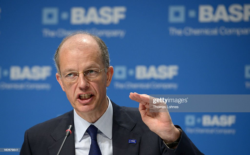 Kurt Bock, chief executive officer of BASF SE, speaks during the company's earnings news conference on February 26, 2013 in Ludwigshafen, Germany. BASF SE, the world's largest chemical company, has projected increased sales this year.