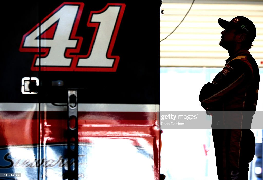 Kurt Busch driver of the Haas Automation Chevrolet looks on during practice for the NASCAR Sprint Cup Series Crown Royal Presents the Jeff Kyle 400...