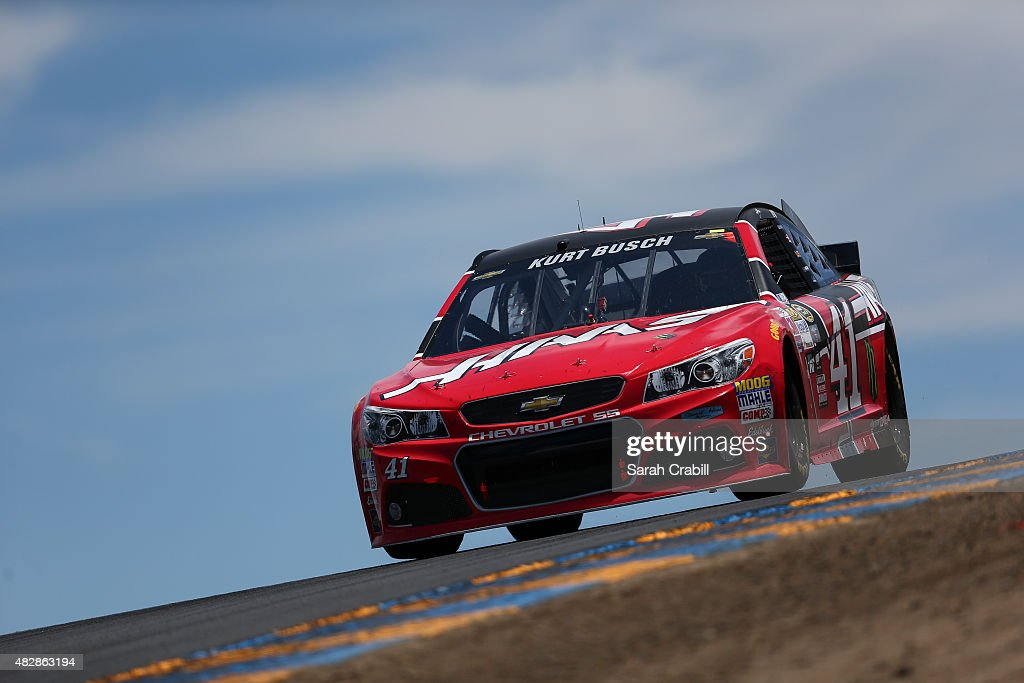 Kurt Busch driver of the Haas Automation Chevrolet races during the NASCAR Sprint Cup Series Toyota/Save Mart 350 at Sonoma Raceway on June 28 2015...