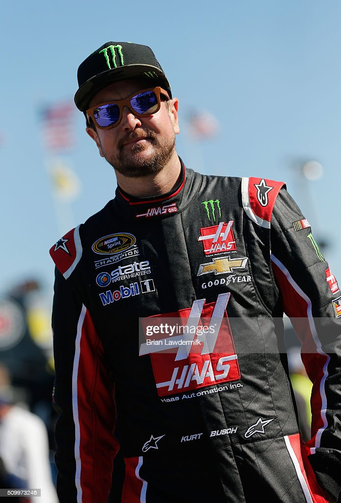 Kurt Busch, driver of the #41 Haas Automation/Monster Energy Chevrolet, looks on in the garage area during practice for the NASCAR Sprint Cup Series Daytona 500 at Daytona International Speedway on February 13, 2016 in Daytona Beach, Florida.