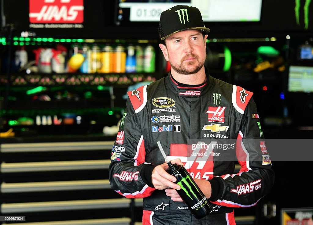 <a gi-track='captionPersonalityLinkClicked' href=/galleries/search?phrase=Kurt+Busch&family=editorial&specificpeople=201728 ng-click='$event.stopPropagation()'>Kurt Busch</a>, driver of the #41 Haas Automation/Monster Energy Chevrolet, looks on in the garage area during practice for the NASCAR Sprint Cup Series Daytona 500 at Daytona International Speedway on February 13, 2016 in Daytona Beach, Florida.