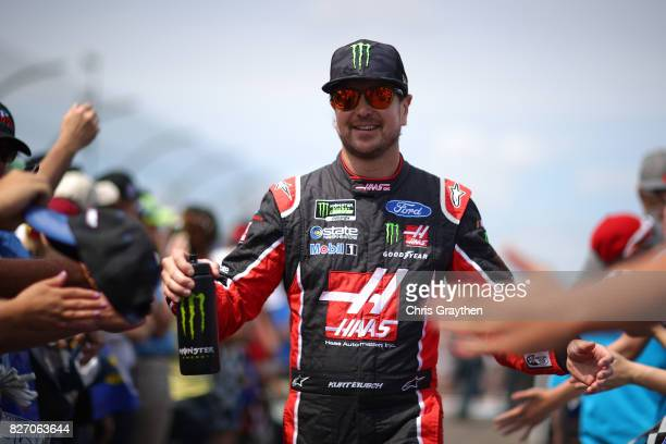 Kurt Busch driver of the Haas Automation/Monster Energy Ford is introduced prior to the Monster Energy NASCAR Cup Series I Love NY 355 at The Glen at...