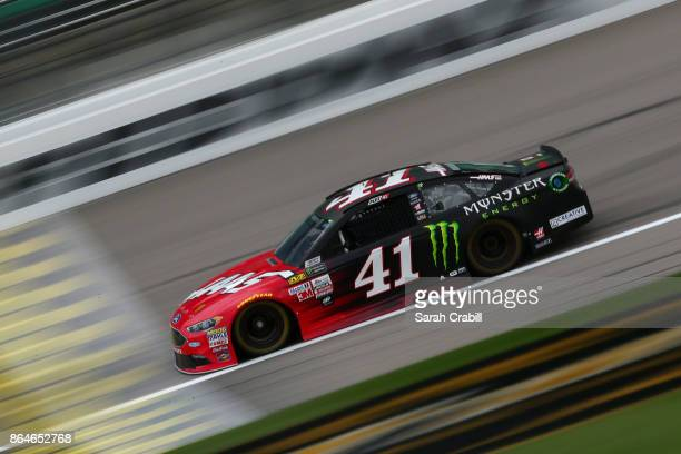 Kurt Busch driver of the Haas Automation/Monster Energy Ford practices for the Monster Energy NASCAR Cup Series Hollywood Casino 400 at Kansas...