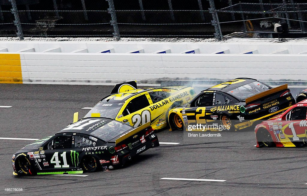 Kurt Busch driver of the Monster Energy Chevrolet Matt Kenseth driver of the Dollar General Toyota Brad Keselowski driver of the Alliance Truck Parts...