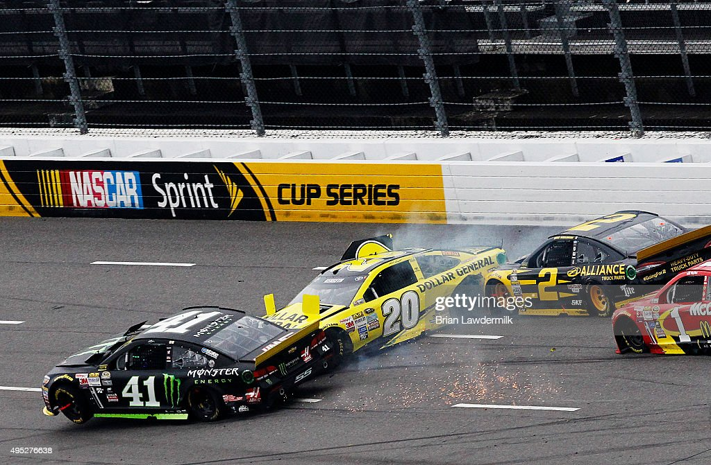 Kurt Busch driver of the Monster Energy Chevrolet Matt Kenseth driver of the Dollar General Toyota and Brad Keselowski driver of the Alliance Truck...