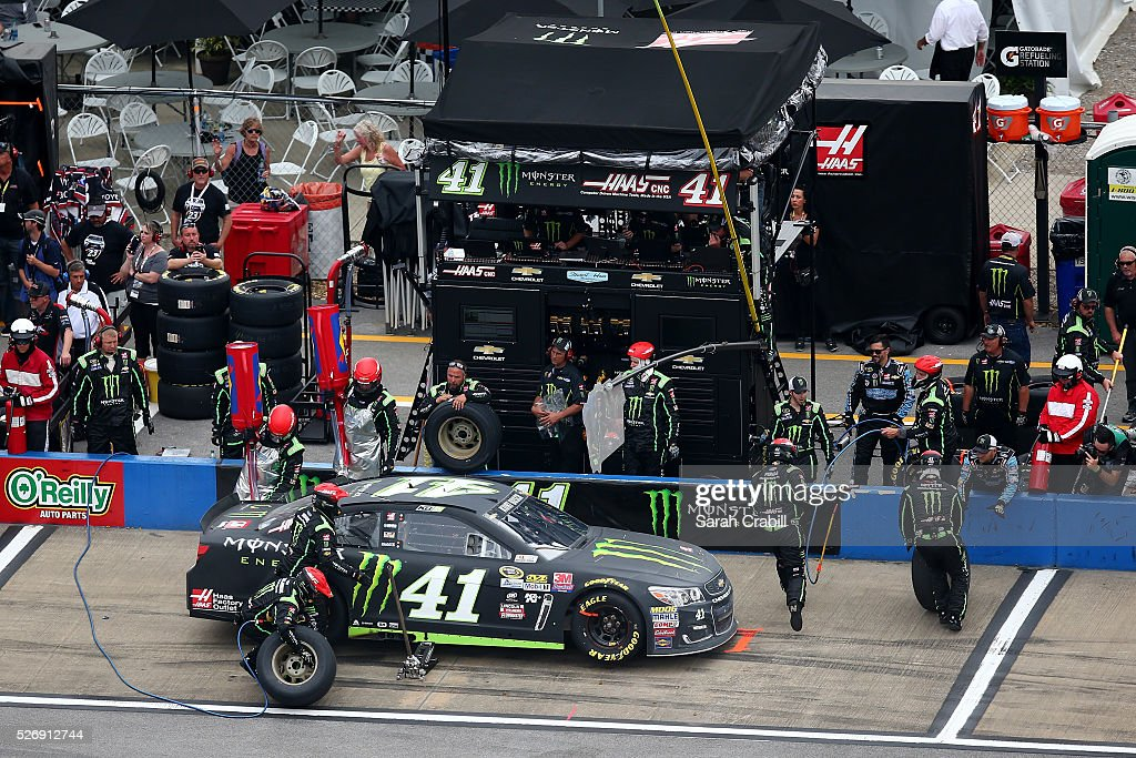 Kurt Busch, driver of the #41 Monster Energy Chevrolet, pits during the NASCAR Sprint Cup Series GEICO 500 at Talladega Superspeedway on May 1, 2016 in Talladega, Alabama.