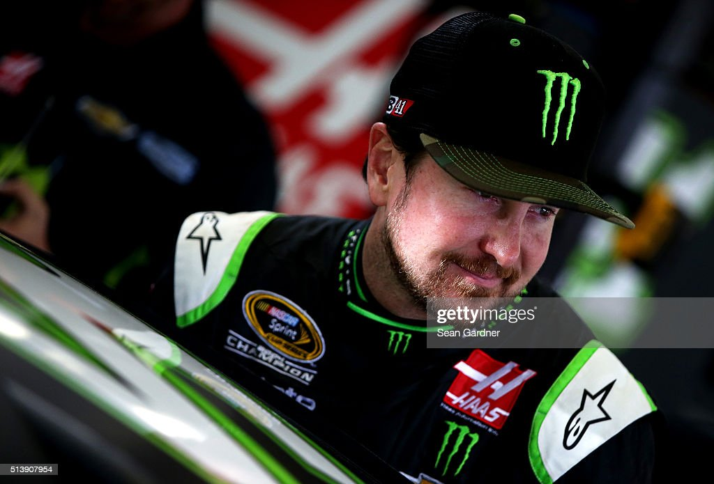 Kurt Busch driver of the Monster Energy / Haas Automation Chevrolet prepares to drive during practice for the NASCAR Sprint Cup Series Kobalt 400 at...