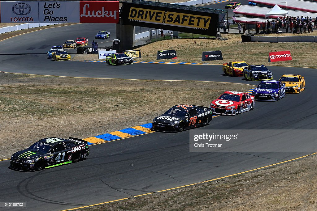 <a gi-track='captionPersonalityLinkClicked' href=/galleries/search?phrase=Kurt+Busch&family=editorial&specificpeople=201728 ng-click='$event.stopPropagation()'>Kurt Busch</a>, driver of the #41 Monster Energy/Haas Automation Chevrolet, leads a pack of cars during the NASCAR Sprint Cup Series Toyota/Save Mart 350 at Sonoma Raceway on June 26, 2016 in Sonoma, California.