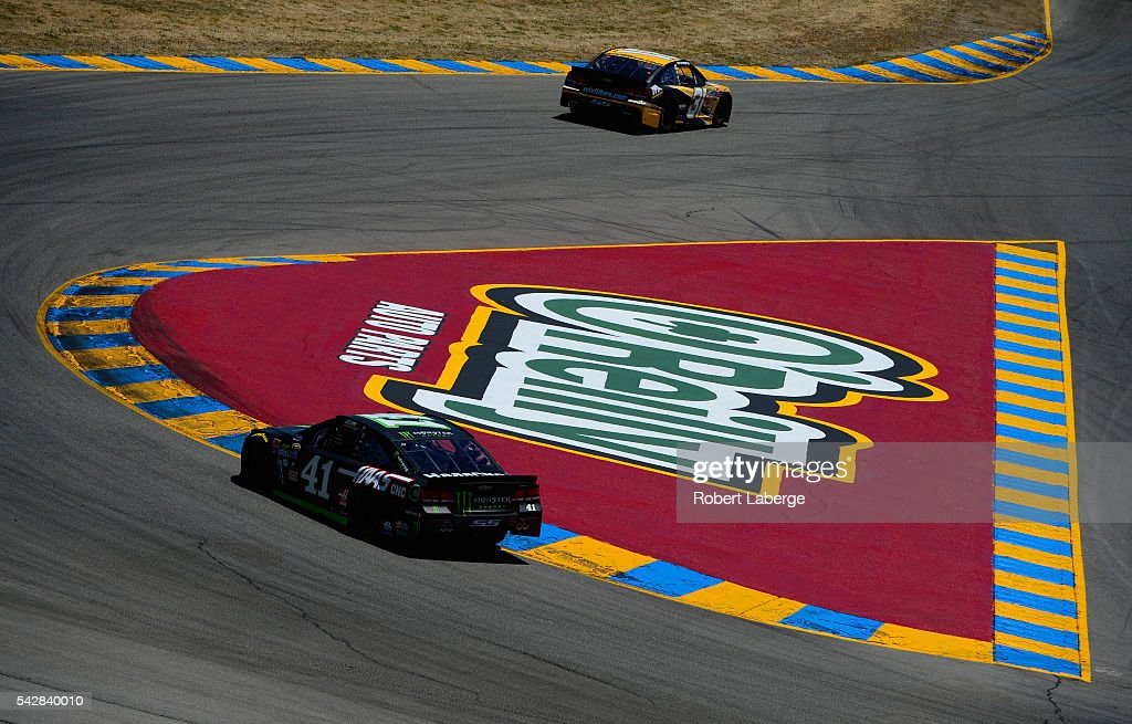 <a gi-track='captionPersonalityLinkClicked' href=/galleries/search?phrase=Kurt+Busch&family=editorial&specificpeople=201728 ng-click='$event.stopPropagation()'>Kurt Busch</a>, driver of the #41 Monster Energy/Haas Automation Chevrolet, and <a gi-track='captionPersonalityLinkClicked' href=/galleries/search?phrase=Ryan+Newman+-+Race+Car+Driver&family=editorial&specificpeople=12773547 ng-click='$event.stopPropagation()'>Ryan Newman</a>, driver of the #31 WIX Filters Chevrolet, drive during practice for the NASCAR Sprint Cup Series Toyota/Save Mart 350 at Sonoma Raceway on June 24, 2016 in Sonoma, California.
