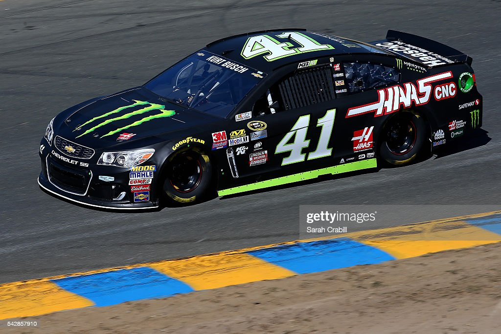 <a gi-track='captionPersonalityLinkClicked' href=/galleries/search?phrase=Kurt+Busch&family=editorial&specificpeople=201728 ng-click='$event.stopPropagation()'>Kurt Busch</a>, driver of the #41 Monster Energy/Haas Automation Chevrolet, practices for the NASCAR Sprint Cup Series Toyota/Save Mart 350 at Sonoma Raceway on June 24, 2016 in Sonoma, California.