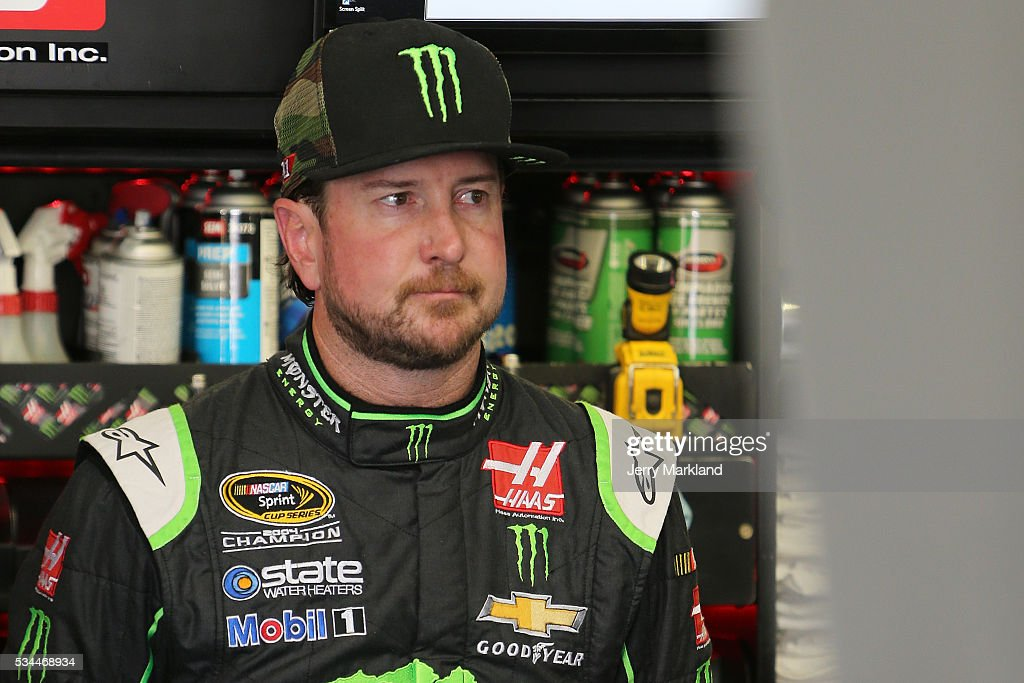 <a gi-track='captionPersonalityLinkClicked' href=/galleries/search?phrase=Kurt+Busch&family=editorial&specificpeople=201728 ng-click='$event.stopPropagation()'>Kurt Busch</a>, driver of the #41 Monster Energy/Haas Automation Chevrolet, stands in the garage area during practice for the NASCAR Sprint Cup Series Coca-Cola 600 at Charlotte Motor Speedway on May 27, 2016 in Charlotte, North Carolina.