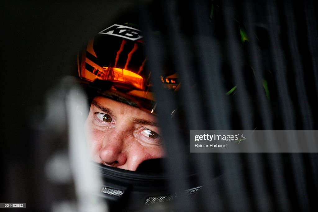 <a gi-track='captionPersonalityLinkClicked' href=/galleries/search?phrase=Kurt+Busch&family=editorial&specificpeople=201728 ng-click='$event.stopPropagation()'>Kurt Busch</a>, driver of the #41 Monster Energy/Haas Automation Chevrolet, sits in his car during practice for the NASCAR Sprint Cup Series Coca-Cola 600 at Charlotte Motor Speedway on May 27, 2016 in Charlotte, North Carolina.