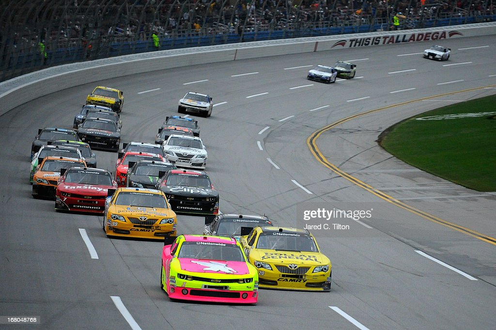 Kurt Busch driver of the Phoenix Construction Chevrolet leads a pack of cars during the NASCAR Nationwide Series Aaron's 312 at Talladega...
