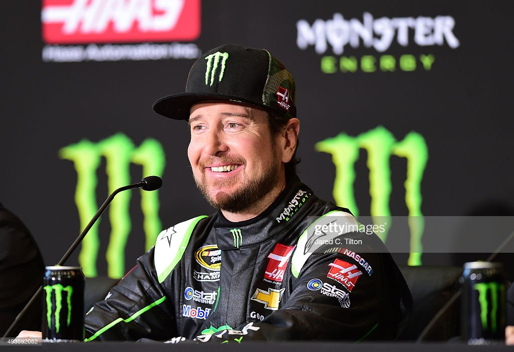 Kurt Busch driver of the StewartHaas Racing Chevrolet answers questions from the media during a press conference announcing Monster Energy as a...