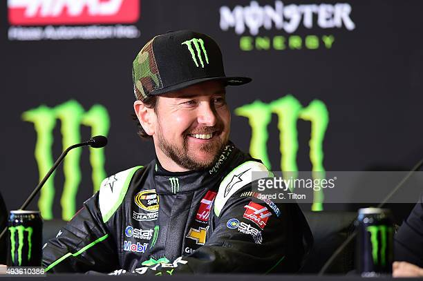 Kurt Busch driver of the StewartHaas Racing Chevrolet looks on during a press conference announcing Monster Energy as a cosponsor on the StewartHaas...