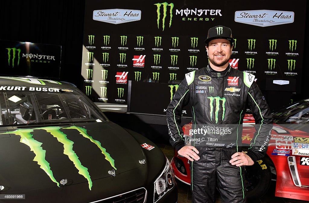 <a gi-track='captionPersonalityLinkClicked' href=/galleries/search?phrase=Kurt+Busch&family=editorial&specificpeople=201728 ng-click='$event.stopPropagation()'>Kurt Busch</a>, driver of the #41 Stewart-Haas Racing Chevrolet, poses for a photo opportunity after a press conference announcing Monster Energy as a co-sponsor on the #41 Stewart-Haas Racing Chevrolet at Stewart-Haas Racing on October 21, 2015 in Kannapolis, North Carolina. Monster Energy will team with Busch for a multiyear deal which will include primary sponsorship (hood) for 17 races, secondary sponsorship (quarter panel) for 18 races, and one full primary race sponsorship.