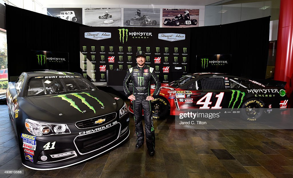 Kurt Busch, driver of the #41 Stewart-Haas Racing Chevrolet, poses for a photo opportunity after a press conference announcing Monster Energy as a co-sponsor on the #41 Stewart-Haas Racing Chevrolet at Stewart-Haas Racing on October 21, 2015 in Kannapolis, North Carolina. Monster Energy will team with Busch for a multiyear deal which will include primary sponsorship (hood) for 17 races, secondary sponsorship (quarter panel) for 18 races, and one full primary race sponsorship.