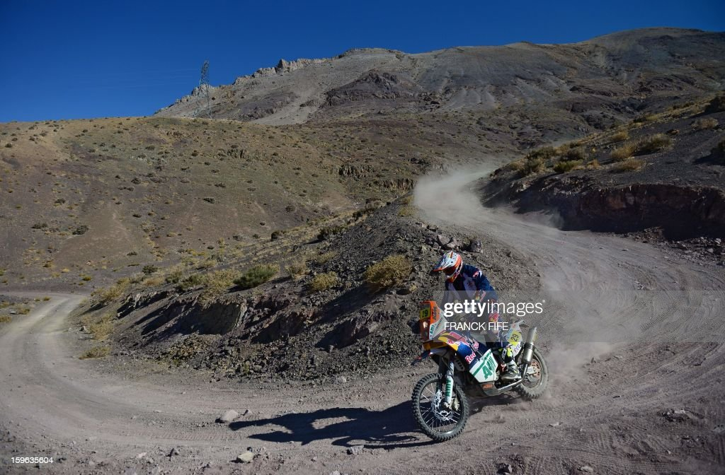 US Kurt Caselli competes on his KTM during the Stage 12 of the Dakar 2013 between Fiambala, Argentina and Copiapo, Chile, on January 17, 2013. The rally takes place in Peru, Argentina and Chile between January 5 and 20.