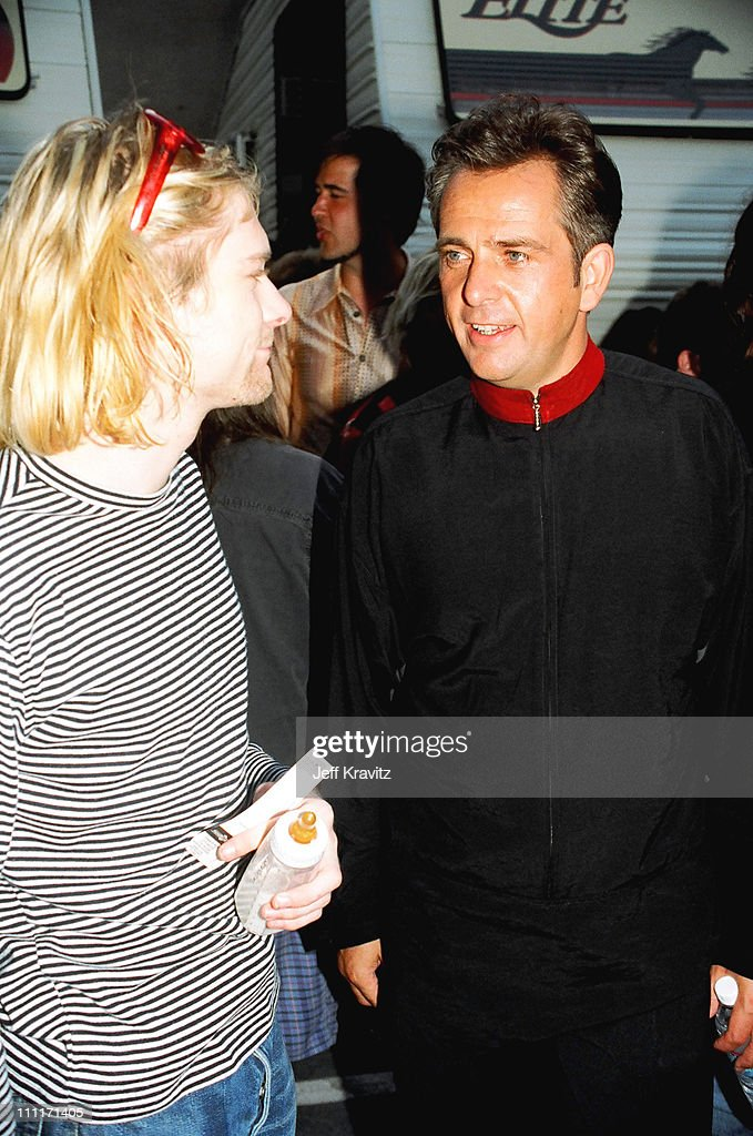Kurt Cobain of Nirvana and Peter Gabriel during 1993 MTV Video Music Awards in Los Angeles, California, United States.