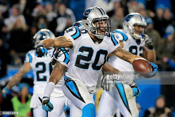 Kurt Coleman of the Carolina Panthers celebrates after intercepting a pass intended for John Brown of the Arizona Cardinals at the end of the first...