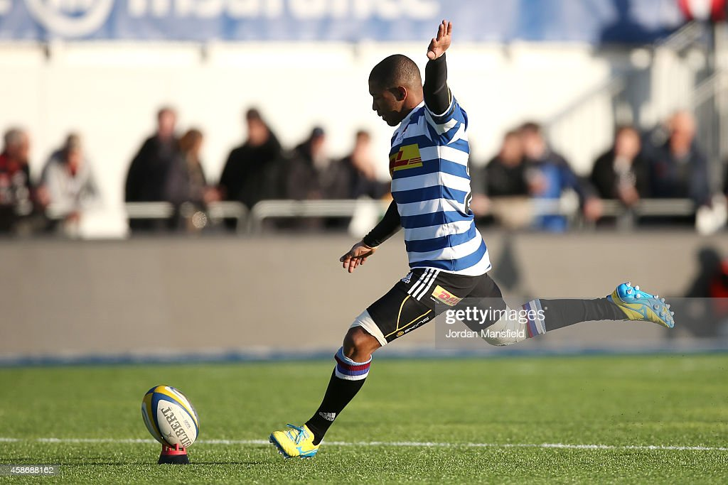 Kurt Coleman of Western Province kicks a conversion during the match between Saracens and DHL Western Province at Allianz Park on November 9 2014 in...