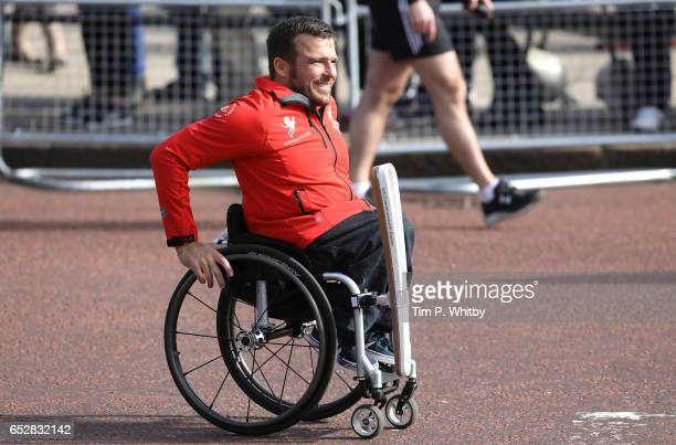 Kurt Fearnley attends the baton at the launch of The Queen's Baton Relay for the XXI Commonwealth Games at Buckingham Palace on March 13 2017 in...