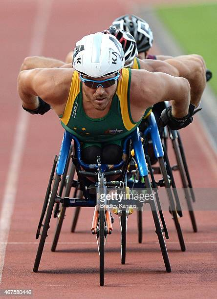 Kurt Fearnley competes in the Men's 800m Wheelchair race during the Australian Athletics Championships at the Queensland Sports and Athletics Centre...