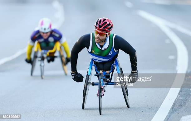 Kurt Fearnley heads up William Street during the start of the 2017 City to Surf on August 13 2017 in Sydney Australia