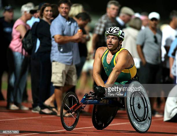 Kurt Fearnley of Australia after winning the Mens Elite wheelchair mile during the 2015 Hunter Track Classic on January 31 2015 in Newcastle Australia