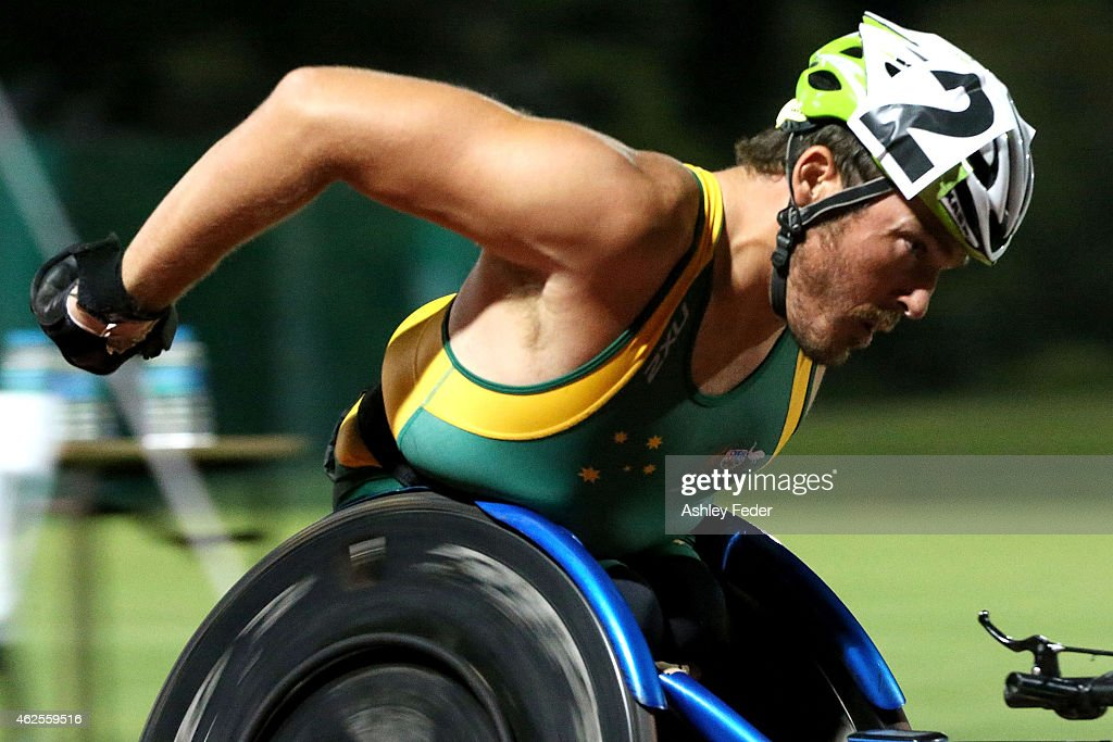 Kurt Fearnley of Australia races during the Mens Elite Wheelchair Mile during the 2015 Hunter Track Classic on January 31, 2015 in Newcastle, Australia.