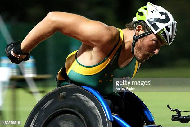 Kurt Fearnley of Australia races during the Mens Elite Wheelchair Mile during the 2015 Hunter Track Classic on January 31 2015 in Newcastle Australia