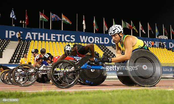 Kurt Fearnley of Australia waits to compete in the men's 5000m T54 heats during the Evening Session on Day Four of the IPC Athletics World...