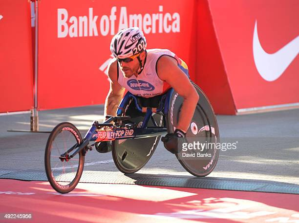 Kurt Fearnley of Australia wins the Men's Wheelchair Race in the 2015 Bank of America Chicago Marathon on October 11 2015 in Chicago Illinois