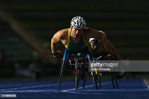 Kurt Fearnley of New South Wales competes in the mens 1500m wheelchair race during the Australian Athletics Championships at Sydney Olympic Park on...