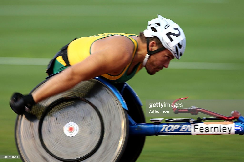 <a gi-track='captionPersonalityLinkClicked' href=/galleries/search?phrase=Kurt+Fearnley&family=editorial&specificpeople=2906682 ng-click='$event.stopPropagation()'>Kurt Fearnley</a> of NSWIS competes in the mens 1500m wheelchair race during the IPC Athletics Grand Prix on February 6, 2016 in Canberra, Australia.