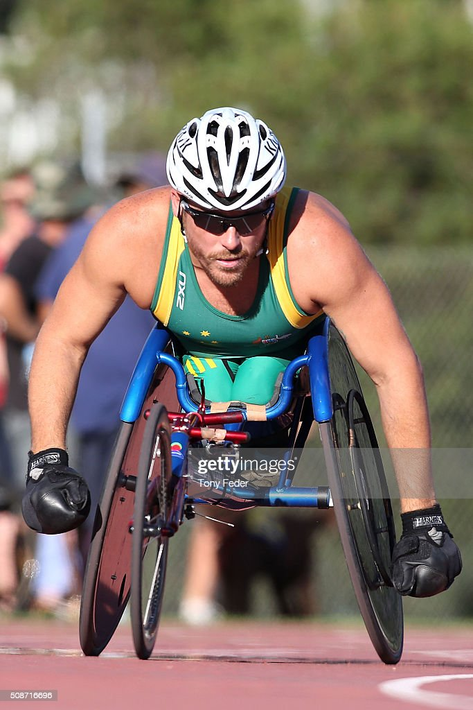 <a gi-track='captionPersonalityLinkClicked' href=/galleries/search?phrase=Kurt+Fearnley&family=editorial&specificpeople=2906682 ng-click='$event.stopPropagation()'>Kurt Fearnley</a> warms up for the 400 metre wheelchair sprint during the IPC Athletics Grand Prix on February 6, 2016 in Canberra, Australia.