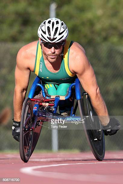 Kurt Fearnley warms up for the 400 metre wheelchair sprint during the IPC Athletics Grand Prix on February 6 2016 in Canberra Australia