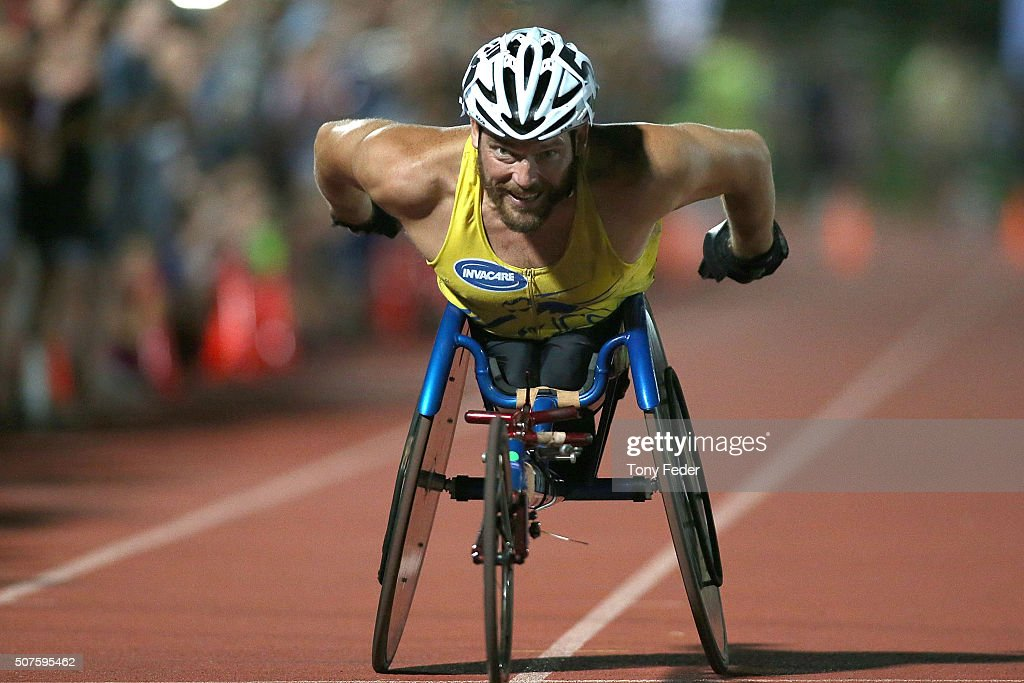 Kurt Fearnley wins the Mens 1500m wheelchair during the 2016 Hunter Track Classic on January 30, 2016 in Newcastle, Australia.