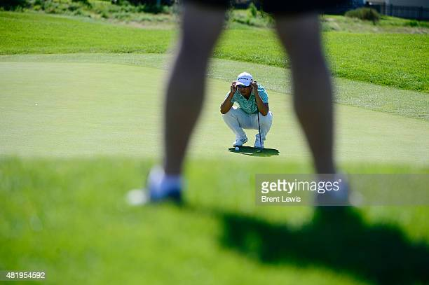 Kurt Kitayama eyes up his shot on the third hole during the 2015 HealthONE Colorado Open on Saturday July 25 2015 at the Green Valley Ranch Golf Club...