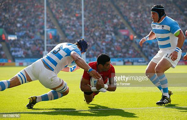 Kurt Morath of Tonga goes over to score their first try during the 2015 Rugby World Cup Pool C match between Argentina and Tonga at Leicester City...