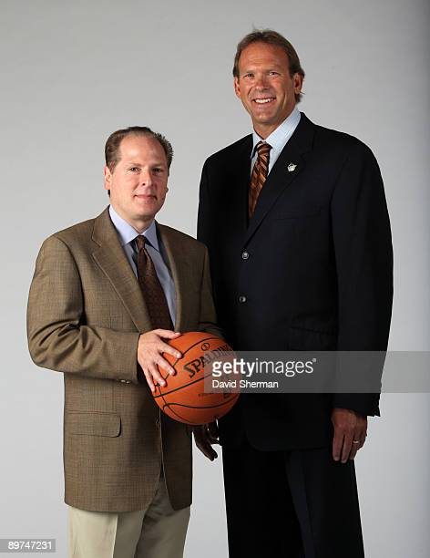 Kurt Rambis new head coach of the Minnesota Timberwolves poses for a portrait with President of Basketball Operations David Kahn on August 11 2009 at...