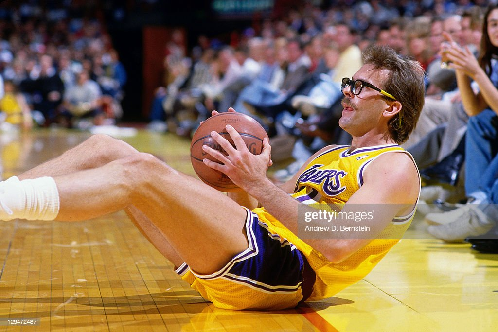 Kurt Rambis of the Los Angeles Lakers lays on the court circa 1987 at the Great Western Forum in Inglewood California NOTE TO USER User expressly...