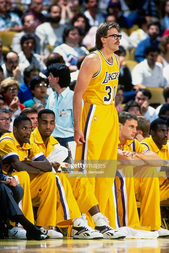 Kurt Rambis of the Los Angeles Lakers looks on from the bench circa 1987 at the Great Western Forum in Inglewood California NOTE TO USER User...